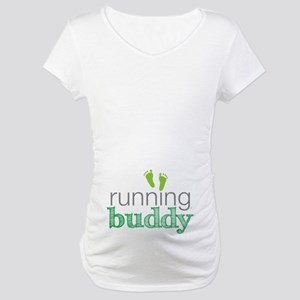 Running Buddy Green Maternity T-Shirt