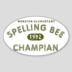 Spelling Bee Champian Sticker (Oval)