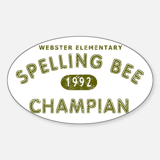 Spelling Bee Champian Sticker (Oval)