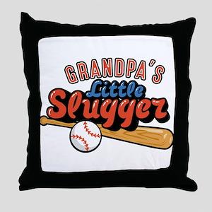 Grandpa's Little Slugger Throw Pillow