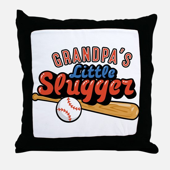 Grandpa's Little Slugger Throw Pillow