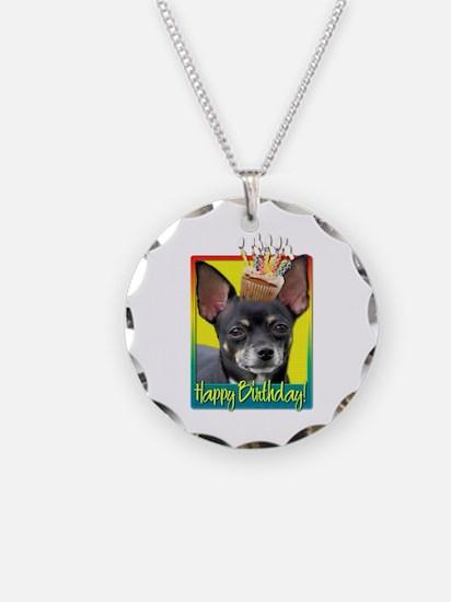 Birthday Cupcake - Chihuahua Necklace Circle Charm