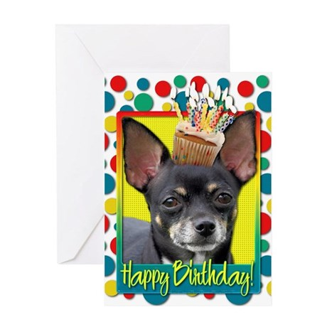 Birthday Cupcake - Chihuahua Greeting Card