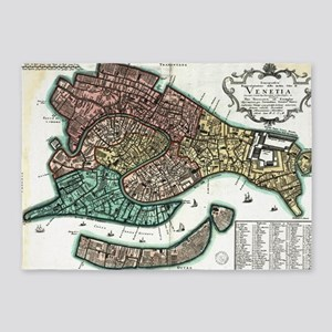 Vintage Map of Venice Italy (1729) 5'x7'Area Rug