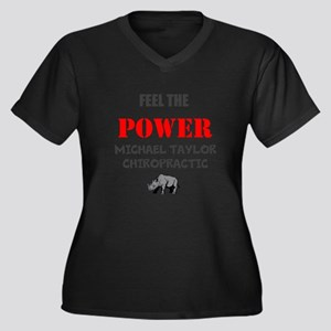 Feel the Power Women's Plus Size V-Neck Dark T-Shi