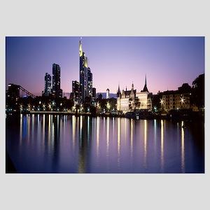 Germany, Frankfurt, Main River, skyline in evening