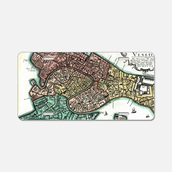 Vintage Map of Venice Italy Aluminum License Plate