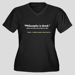 """""""Philosophy Is Dead"""" Women's Plus Size V-Neck Dark"""