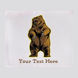 Bear. Custom Text. Throw Blanket