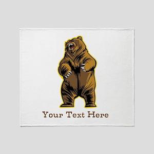 Bear. Custom Text. Throw Blanket