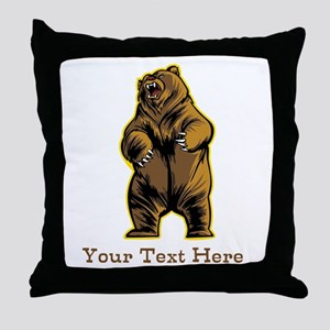 Bear. Custom Text. Throw Pillow