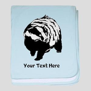 Badger. Black Custom Text. baby blanket