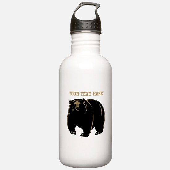 Big Bear with Custom Text. Water Bottle