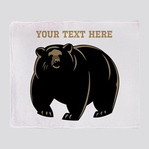 Big Bear with Custom Text. Throw Blanket