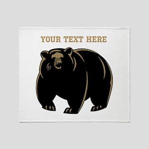 Big Bear with Custom Text. Throw Blanket
