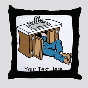 Plumber. Custom Text. Throw Pillow