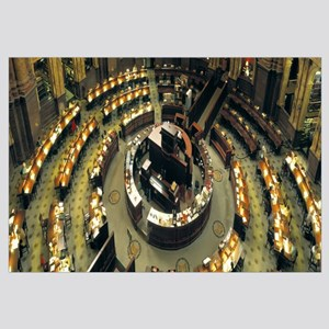 High angle view of a library reading room, Library