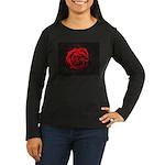 Red Rose Women's Long Sleeve Dark T-Shirt