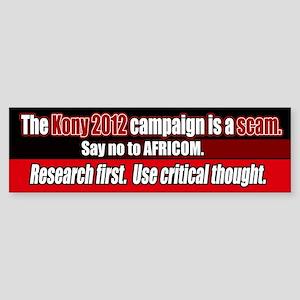 Anti Kony 2012 AFRICOM scam Bumper Sticker