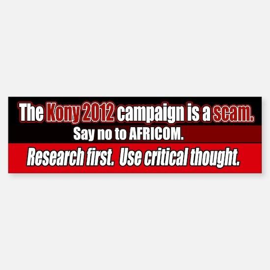Anti Kony 2012 AFRICOM scam Bumper Stickers