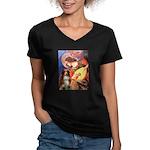 Angel3 - Aussie Shep #4 Women's V-Neck Dark T-Shir