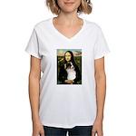 MonaLisa-Tri Aussie Shep2 Women's V-Neck T-Shirt