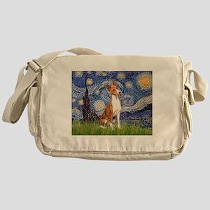Starry Night & Basenji Messenger Bag