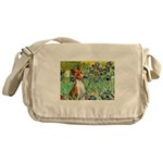 Basenji in Irises Messenger Bag