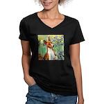 Basenji in Irises Women's V-Neck Dark T-Shirt