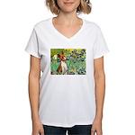 Basenji in Irises Women's V-Neck T-Shirt