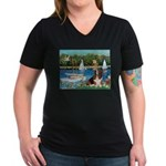 Sailboats & Basset Women's V-Neck Dark T-Shirt