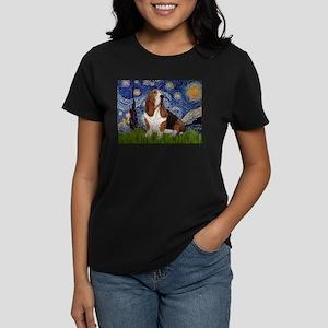 Starry Night & Basset Women's Dark T-Shirt