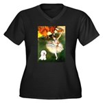 Ballet Dancer & Bichon Women's Plus Size V-Neck Da