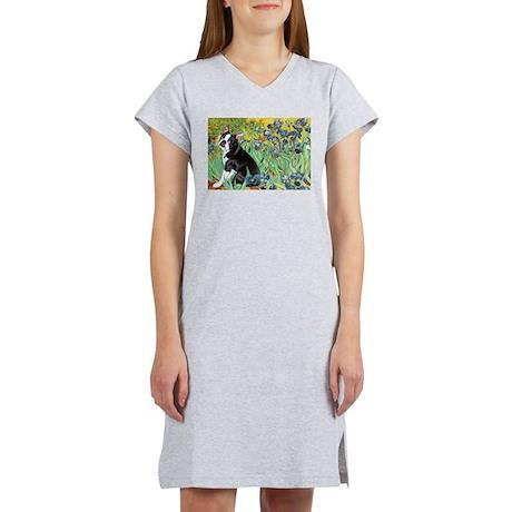 Irises & Boston Ter Women's Nightshirt