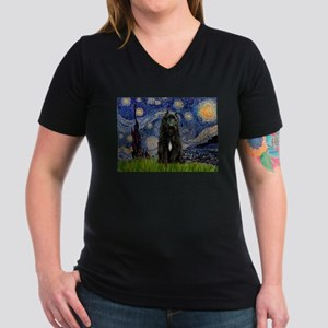 Starry Night Bouvier Women's V-Neck Dark T-Shirt