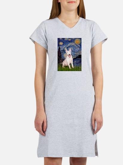 Starry/Bull Terrier (#4) Women's Nightshirt