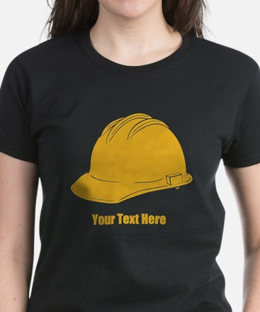 Workers Hat. Your Text. Women's Dark T-Shirt
