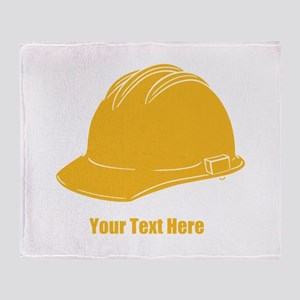 Workers Hat. Your Text. Throw Blanket