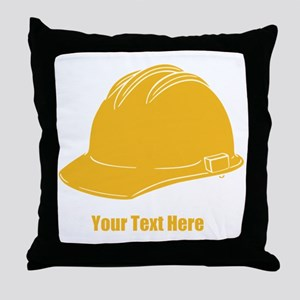 Workers Hat. Your Text. Throw Pillow
