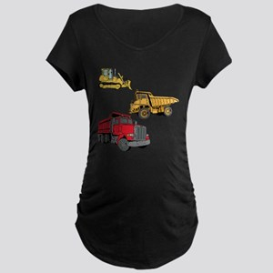 Construction Site Vehicles. Maternity Dark T-Shirt