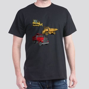 Construction Site Vehicles. Dark T-Shirt