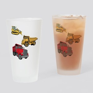 Construction Site Vehicles. Drinking Glass