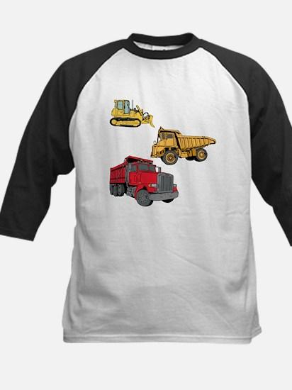 Construction Site Vehicles. Kids Baseball Jersey
