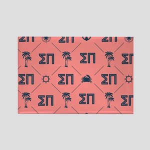 Sigma Pi Coral Pattern Rectangle Magnet