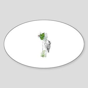 Woodpecker. Sticker (Oval)