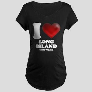 I Heart Long Island Maternity Dark T-Shirt