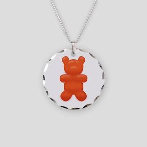 Red Gummi Bear Necklace Circle Charm