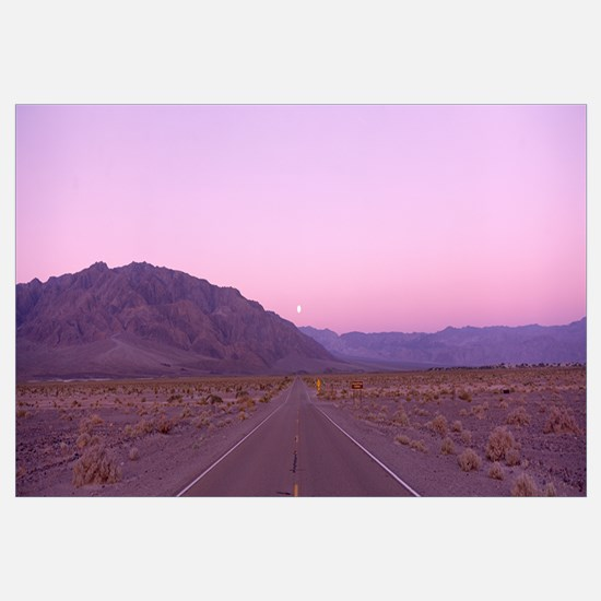 Highway at sunset, Death Valley National Park, Cal