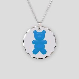 Blue Gummi Bear Necklace Circle Charm