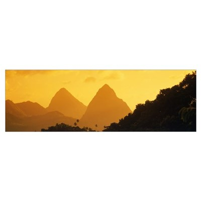 Twin Pitons St Lucia West Indies Poster